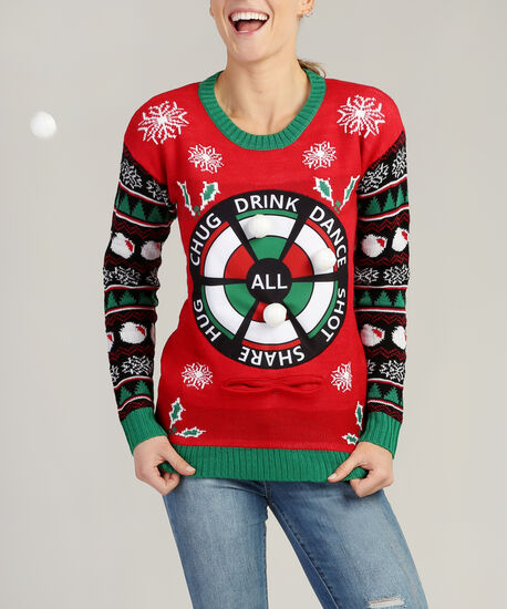 holiday game sweater - wb, RED, hi-res