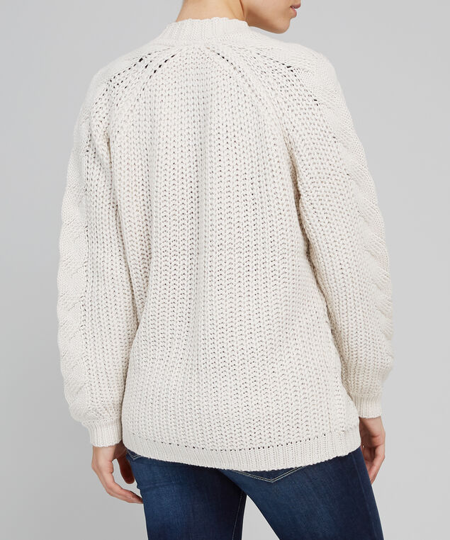 chunky cable knit cardigan - wb, OATMEAL, hi-res