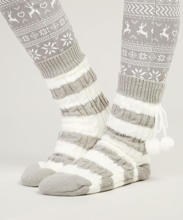 cable knit slipper sock hol17, GREY STRIPE, hi-res