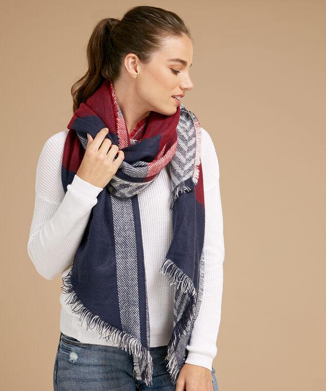 multi pattern blanket scarf, NAVY COMBO, hi-res