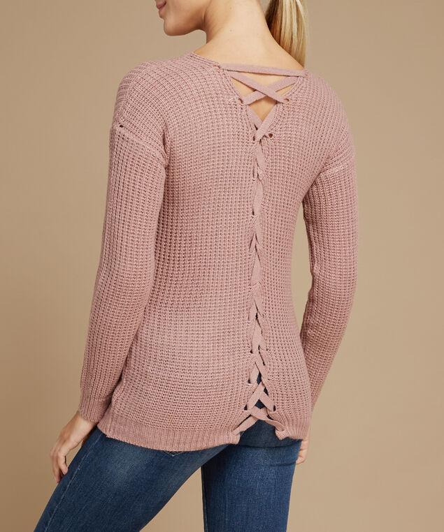 lace up back popover sweater - wb, MINK VELVET, hi-res