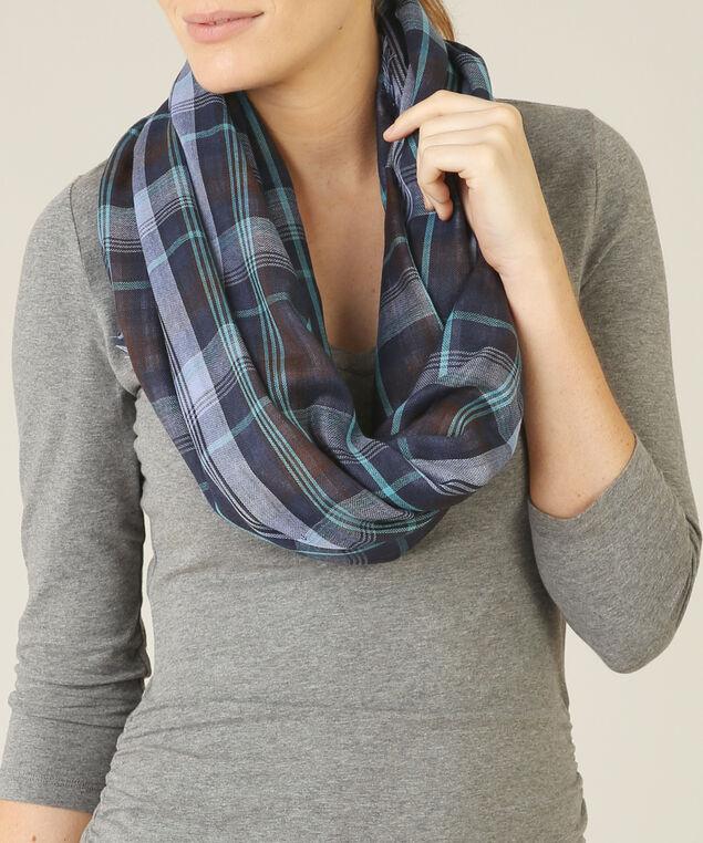gingham eternity scarf, NAVY PLAID, hi-res