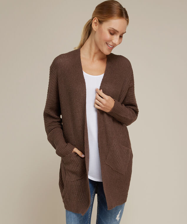cardigan with slanted front pockets - wb, PEPPERCORN, hi-res