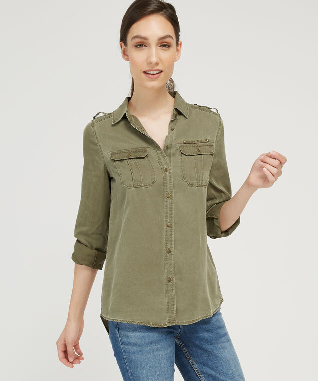 long sleeve double pocket shirt - wb, KHAKI, hi-res