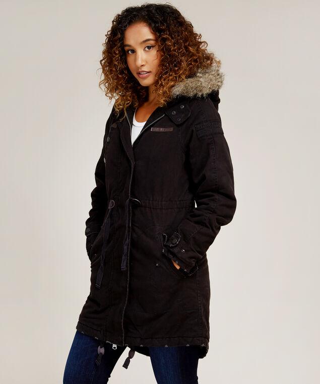 anorak with faux fur hood - wb, BLACK, hi-res