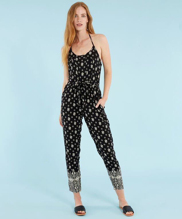 halter neck jumpsuit - wb, BLACK, hi-res
