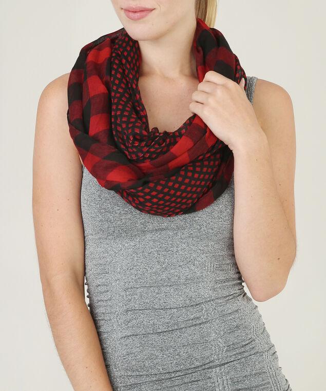 buffalo plaid eternity scarf, RED/BLACK, hi-res