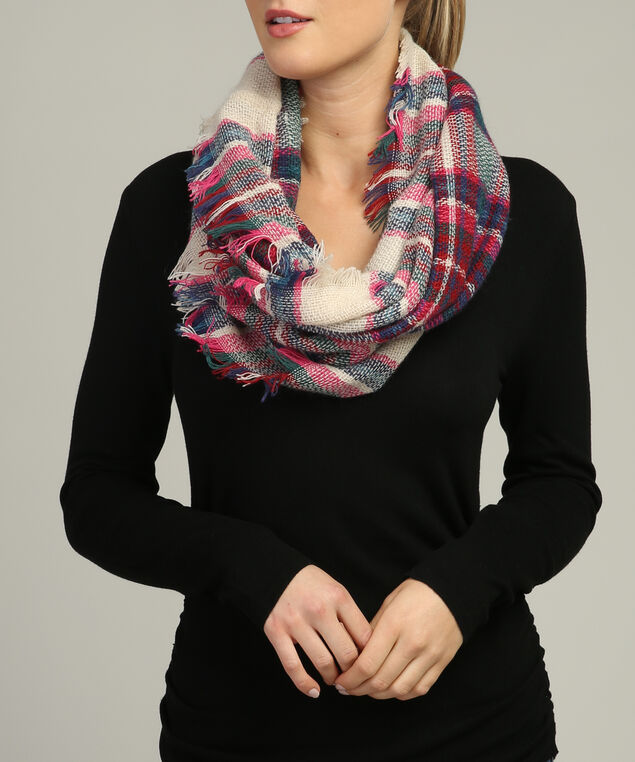 plaid infinity scarf with fringe, CREAM/BLUE/PINK, hi-res