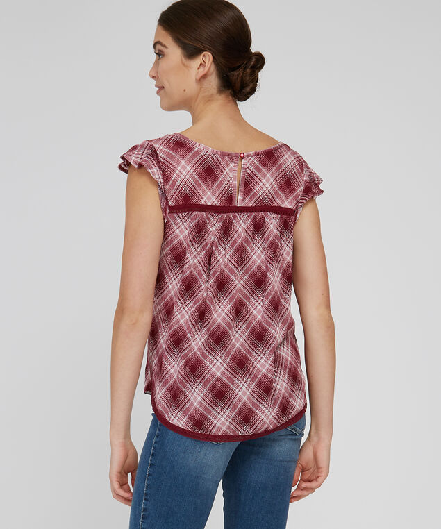 ruffle trim plaid top - wb, WINE/MAUVE, hi-res