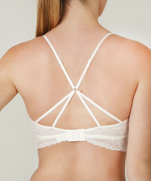 lace bralette with criss cross straps, IVORY, hi-res
