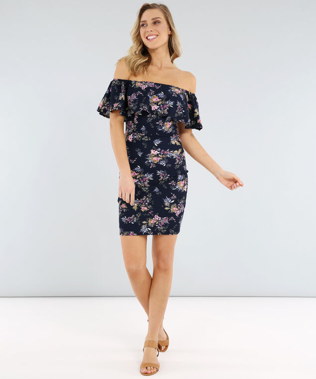 off shoulder body con dress - wb, NAVY FLORAL, hi-res