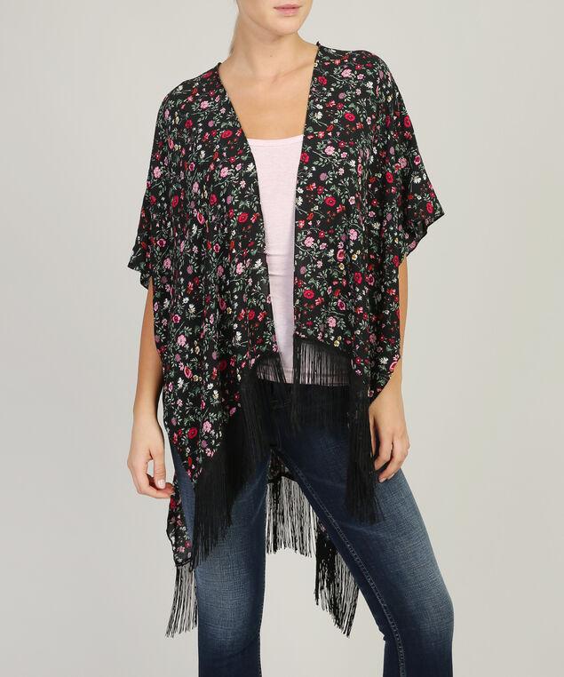 floral fringe kimono, BLACK, hi-res
