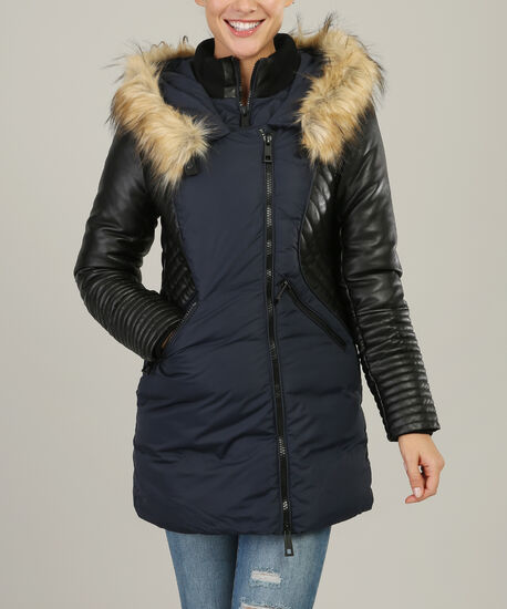 faux fur hood parka with contrast sleeve - wb, INK, hi-res