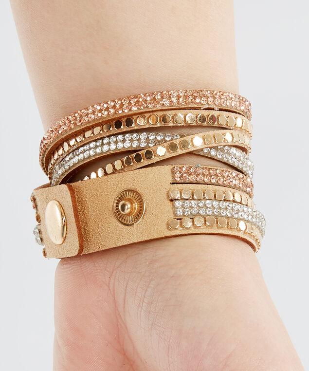 multi strap suede bracelet, MULTI, hi-res