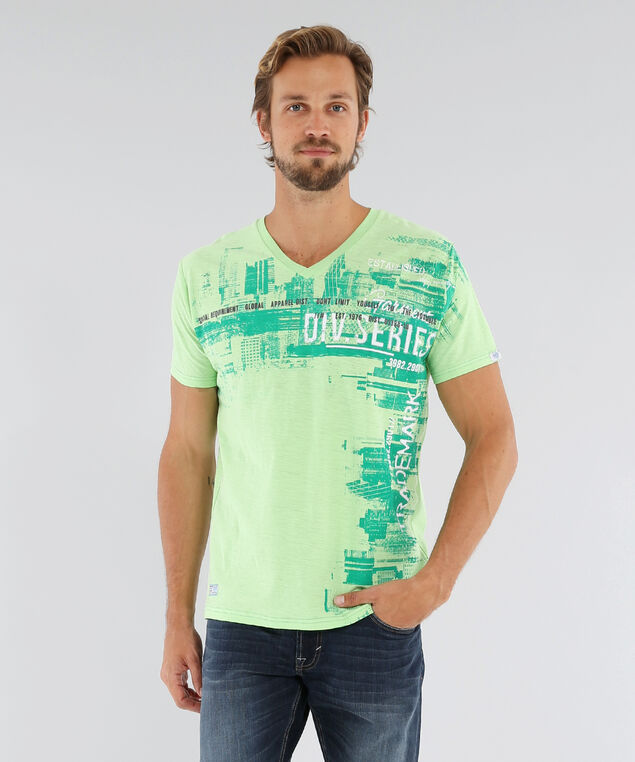 v-neck graphic tee, LIME, hi-res