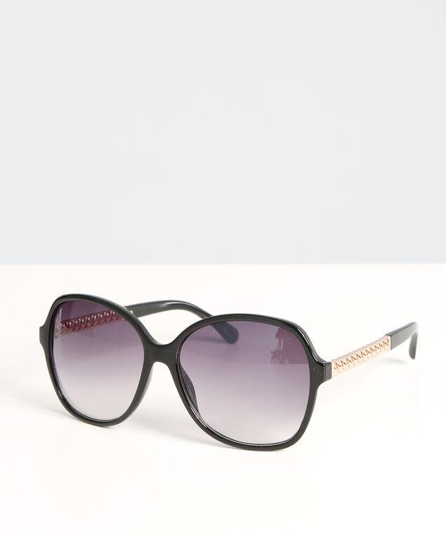 oversized black sunglasses, BLACK, hi-res