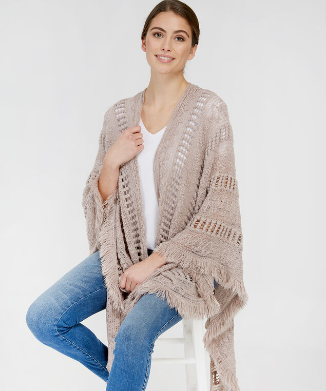 wrapped cable knit cape, SPHINX, hi-res