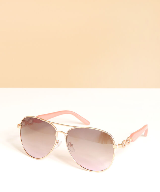 pink & rose gold aviator sunglasses, ROSE GOLD, hi-res