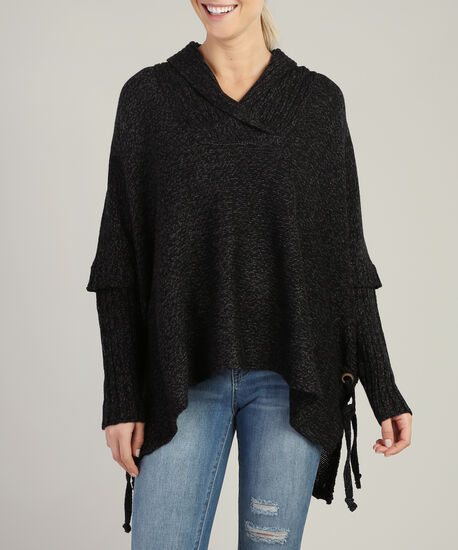 poncho with lace up side - wb, BLACK/GREY TWIST, hi-res