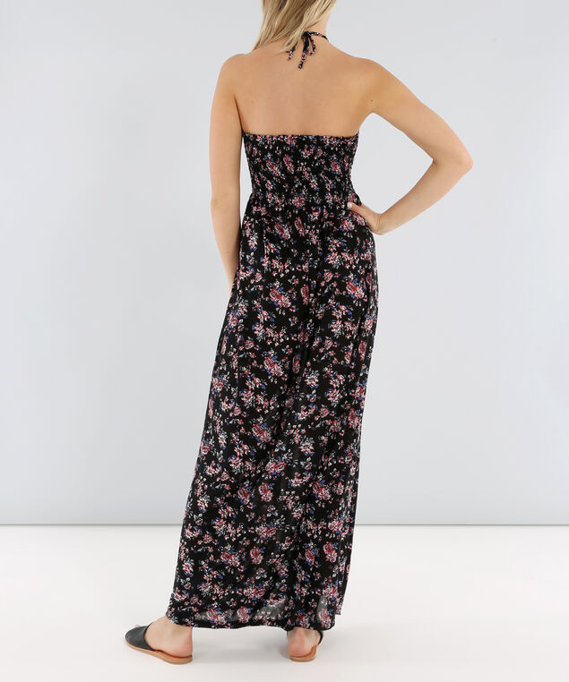 tie neck printed maxi - wb, FLOWER, hi-res