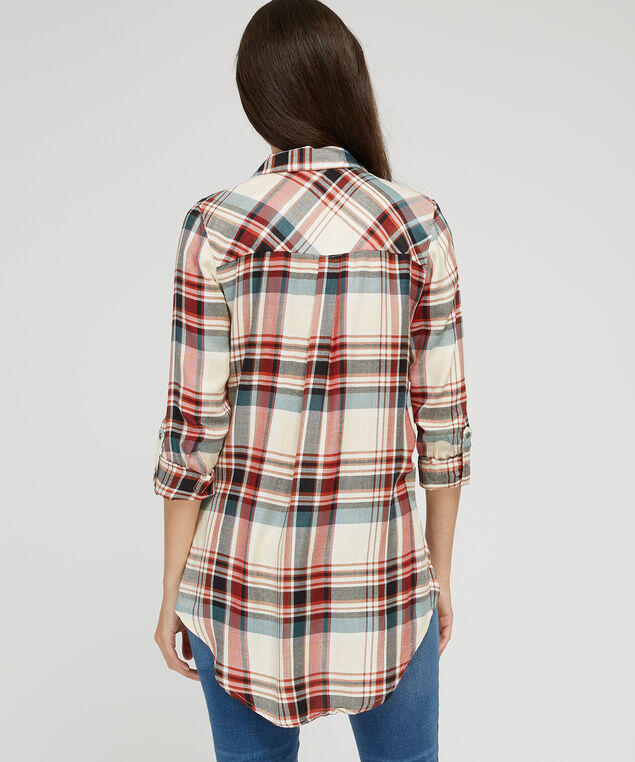 front tied plaid shirt - wb, IVORY PLAID, hi-res