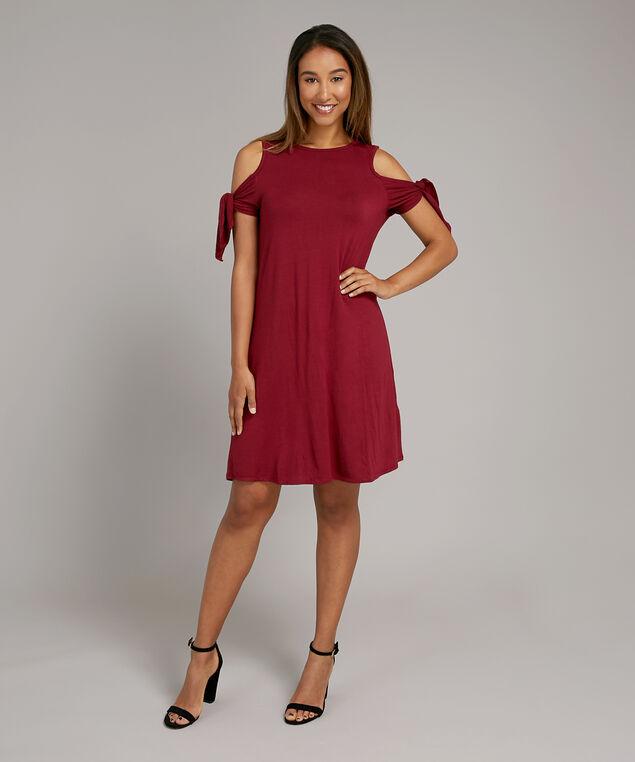 cold shoulder dress - wb, TIBETEN RED, hi-res