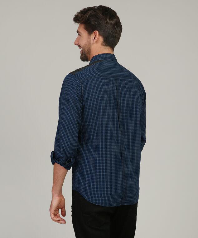 checkered shirt with pocket detail, BLUE, hi-res