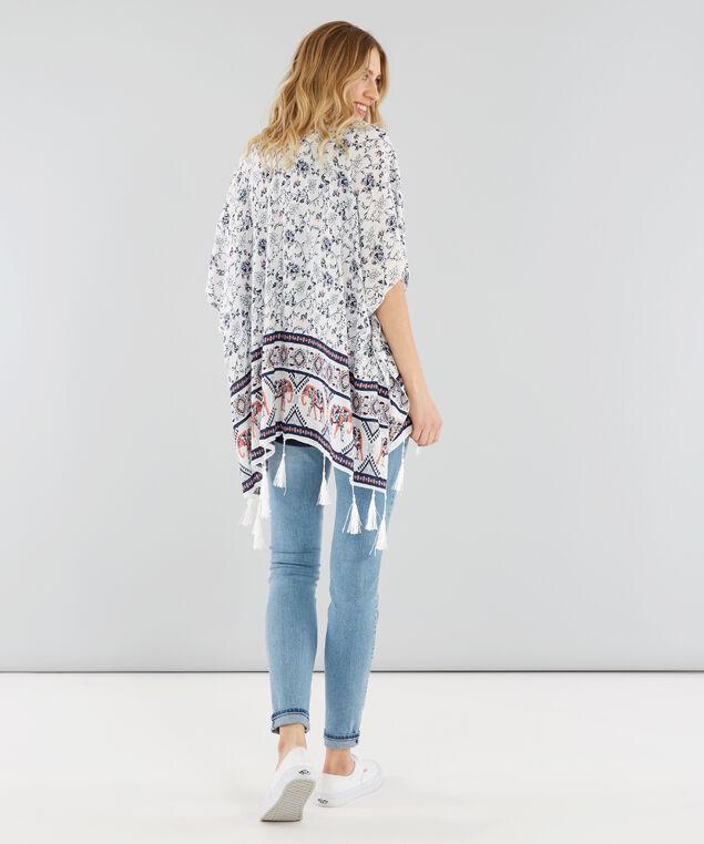 floral and elephant print kimono, WHITE, hi-res