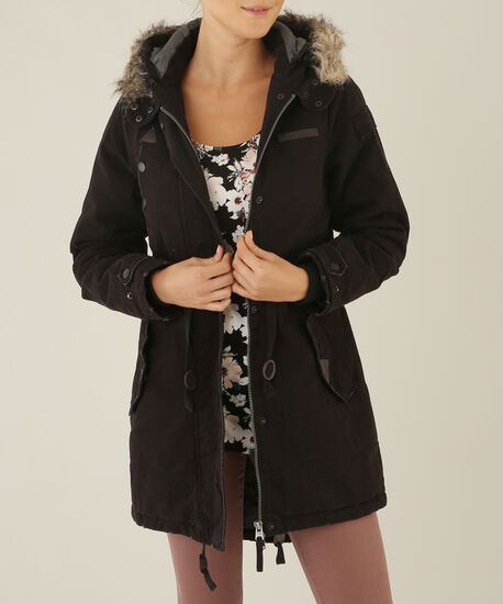 parka with faux fur trim - wb, BLACK, hi-res