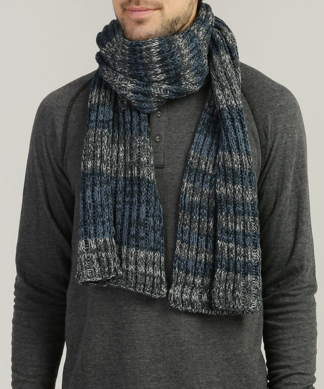 men's striped cable knit scarf, NAVY/GREY STRIPE, hi-res