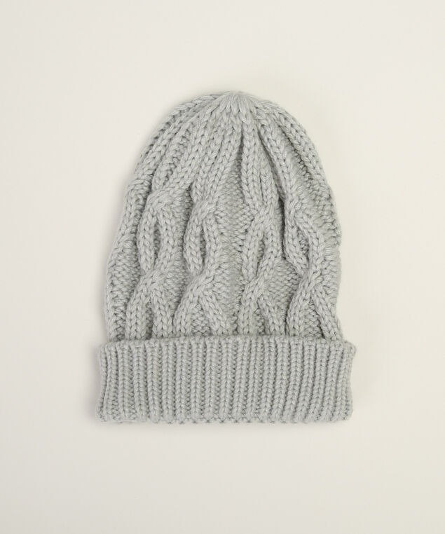 women's cable knit beanie, GREY, hi-res