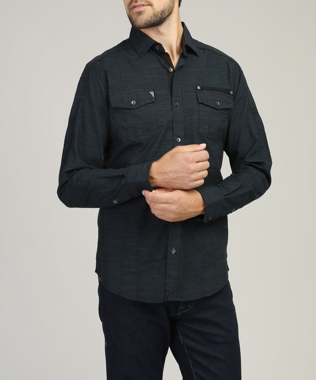 textured shirt with 2 pockets, TEAL, hi-res
