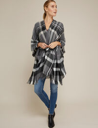 plaid throw-over with belt