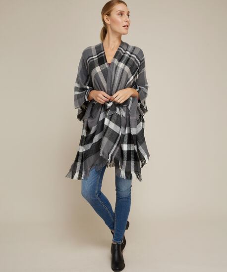plaid throw-over with belt, GREY PATTERN, hi-res
