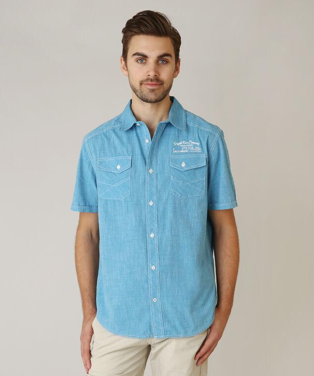 button front shirt, AZURE, hi-res