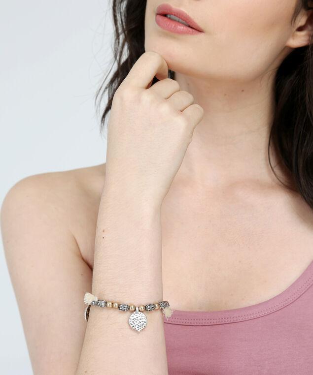 gold & silver tassel bracelet, GOLD, hi-res