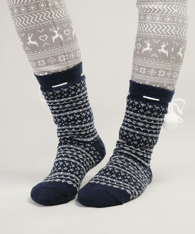 cable knit slipper sock hol17, NAVY DOT, hi-res