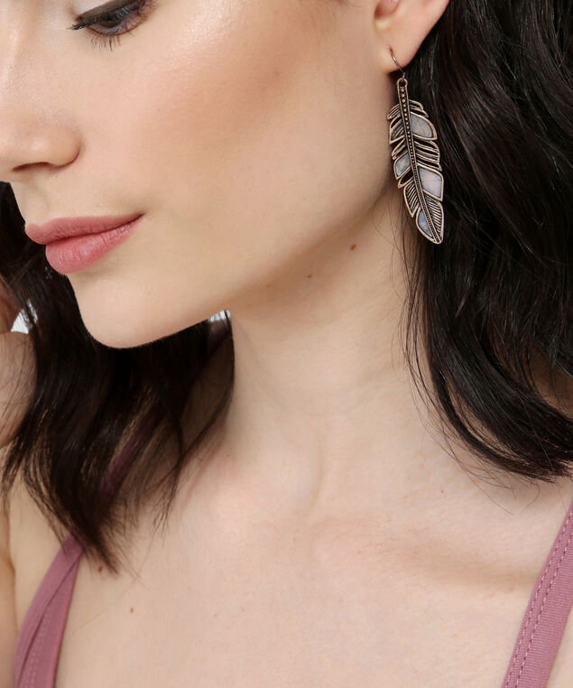 gold-tone feather earrings, GOLD, hi-res
