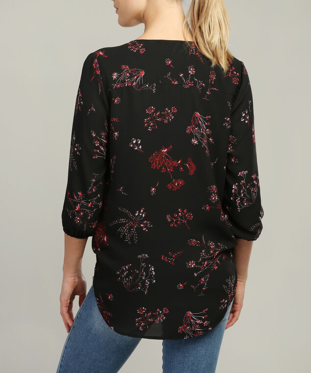 blouse with lace trim, AUTUMN FLORAL, hi-res