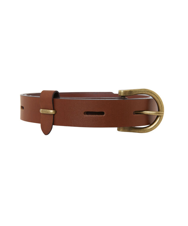 leather belt with drill holes, BROWN, hi-res