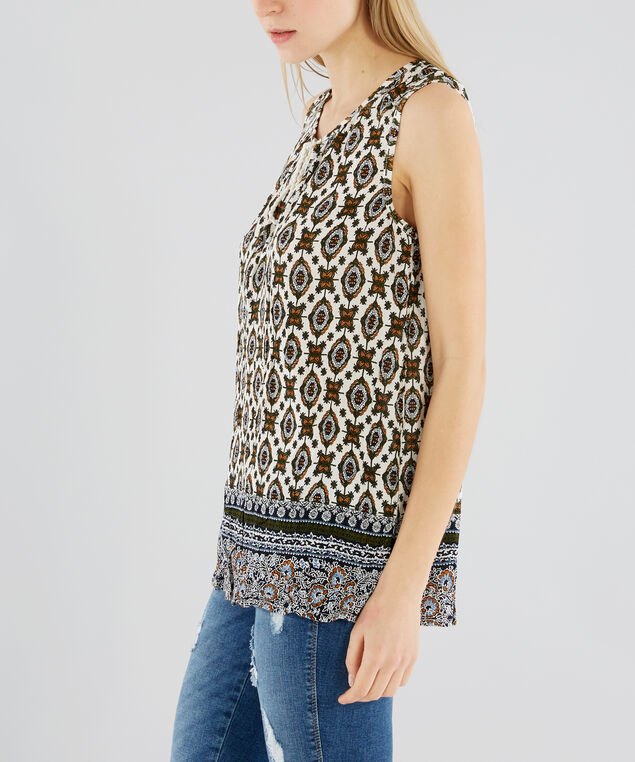 sleeveless top with tassels - wb , OLIVE/NAVY, hi-res