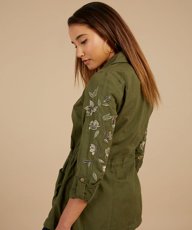 anorak with sleeve embroidery - wb, DARK OLIVE, hi-res