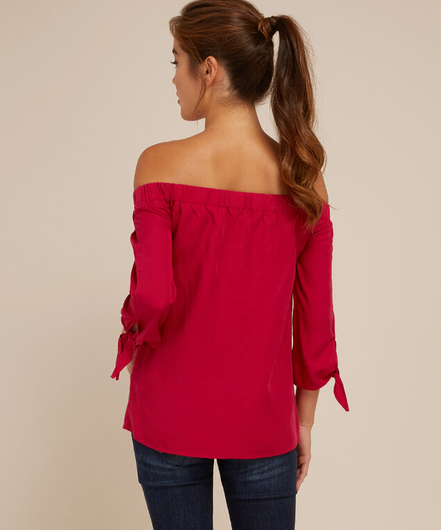 off shoulder with tie sleeve - wb, FUSCHIA, hi-res
