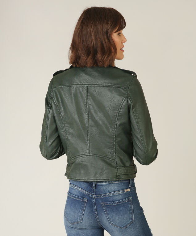 vegan leather jacket - wb, HUNTER GREEN, hi-res