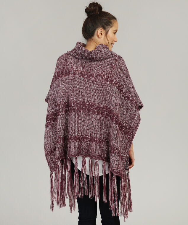cable knit poncho with fringe, BURGUNDY, hi-res