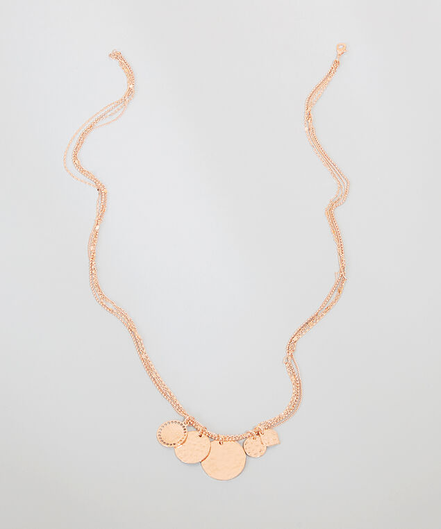 multi chain hammered pendant necklace, ROSE GOLD, hi-res