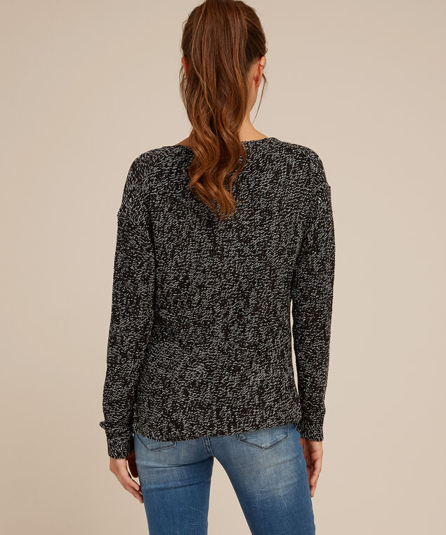 cable front popover sweater - wb, BLACK TWIST, hi-res