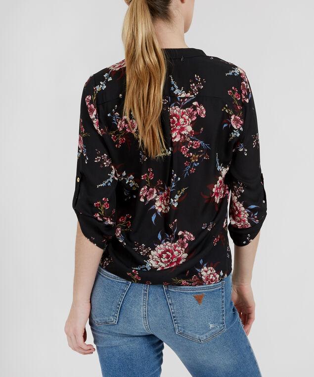 floral blouse - wb, BLACK PRINT, hi-res