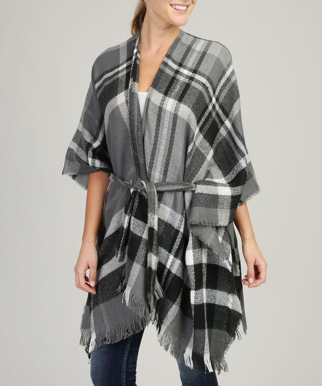 plaid kimono with belt, GREY, hi-res
