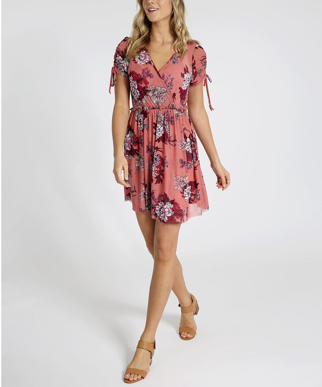 mesh faux wrap dress - wb, MAUVE BERRY, hi-res